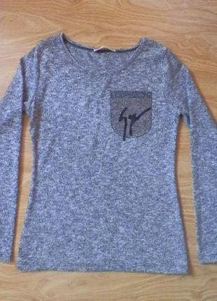 Серая меланжевая кофточка свитер, размер хс