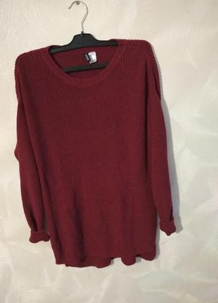 Вишневый удлиненный свитер,пуловер h&m