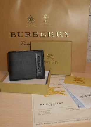 Мужской кошелек, портмоне, бумажник burberry, кожа, италия
