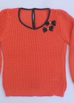 Коралловая кофта, очень теплая, купить свитер, цвет оранжевый , морковный