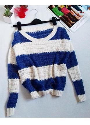 Классный вязаный свитер свитшот в полоску оверсайз