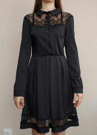 Плаття, чорне з мереживом, міді