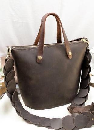 Кожаная сумка, сумочка шопер, шоппер