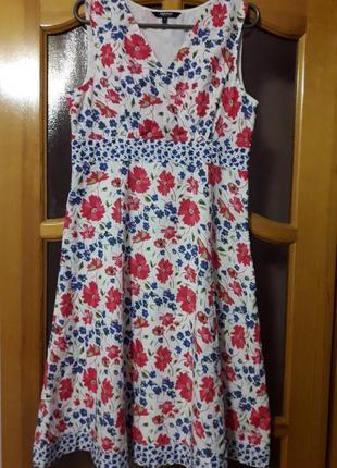 Красивое платье в цветах от  maine new england. хлопок. размер 48.