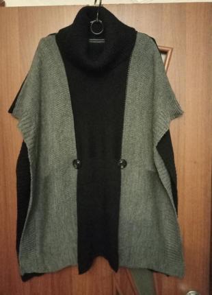 Новый свитер-пончо с воротом-хомутом