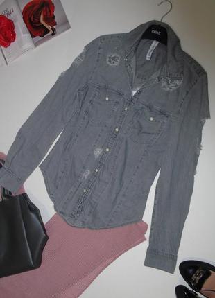 Джинсовая рубашка с рванками denim co
