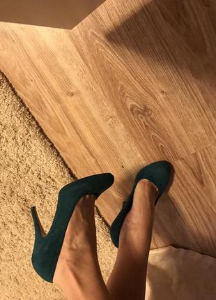 Туфли замшевые, изумрудные