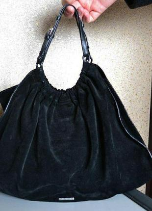 Gucci black suede gathered hobo bag кожаная замшевая сумка оригинал