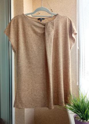 Оригинальная трикотажная утепленная блуза со спущенными плечами с содержанием шерсти