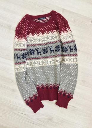 Шерстяной свитер с орнаментом узором оленями atmosphere