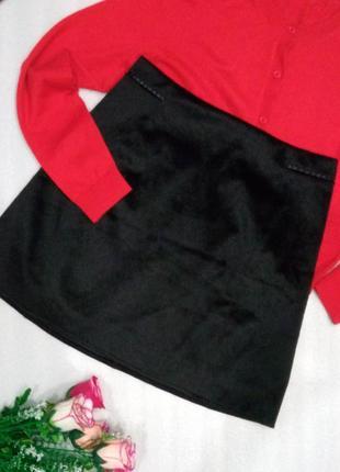 Базовая стильная черная короткая юбка спідниця искусственная кожа от zara s