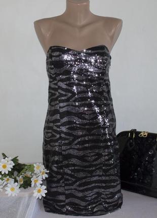 Брендовое вечернее нарядное мини платье new look паетки