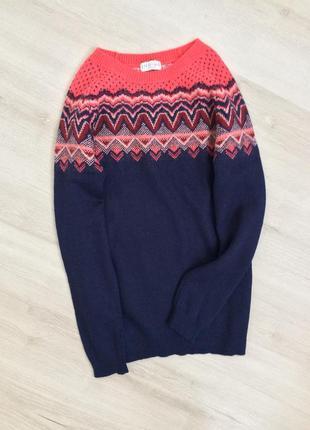 Шерстяной свитер с орнаментом узором indigo