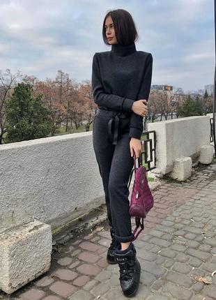 Шикарный теплый прогулочный костюм шерстяной зимний серый графит черный
