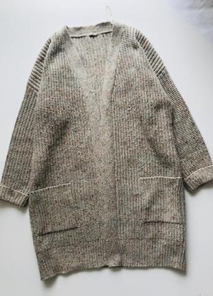Кардиган светлый букле с карманами шерстяной