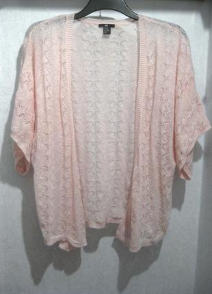 Кардиган накидка джемпер кофта h&m розовая нюдовая нежная