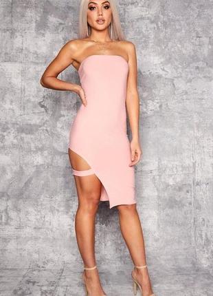 Миди- платье с вырезом на ноге
