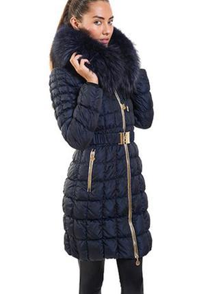 Пуховик зимний женский темно синий mockner