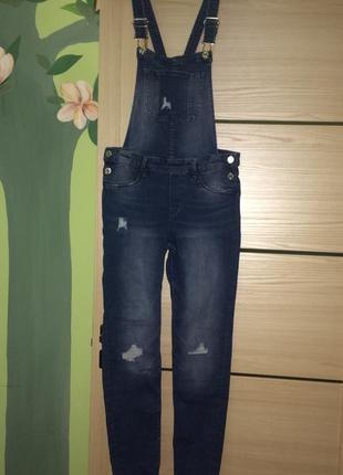 Стильный джинсовый комбинезон, штаны