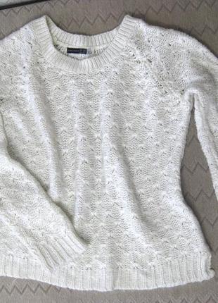 Свитер джемпер кофта atmosphere белый вязаный толстый люрекс