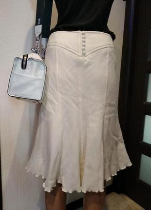 Отличная стильная юбка прямая из натуральной шерсти белая