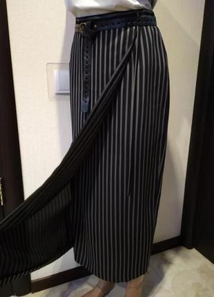 Стильная брэндовая юбка карандаш макси на запах в полоску
