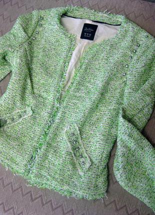 Пиджак жакет zara салатовый зелёный