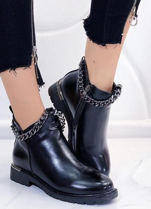 Новые шикарные женские зимние черные ботинки