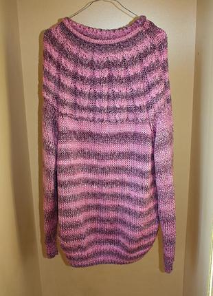 Туника-свитер вязаная фиолетовая с горлом (к000)