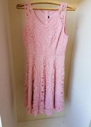 Летнее розовое кружевное платье (к065)