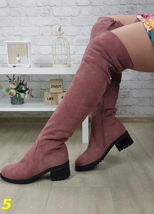 Ботфорты зимние сапоги чулки на низком каблуке пудровые
