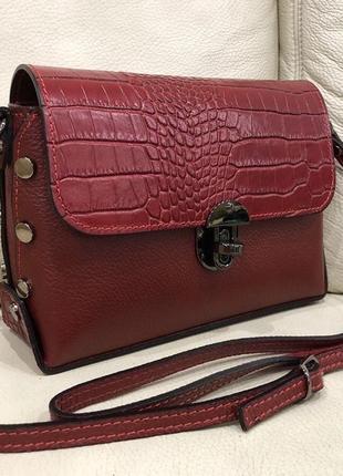 Кожаная сумка сумка из натуральной кожи италия кроссбоди шкіряна сумка