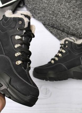 Стильные зимнее ботинки синего цвета