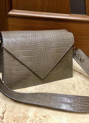 Шкіряна сумка кожаная сумка кроссбоди сумка из натуральной кожи италия под крокодила