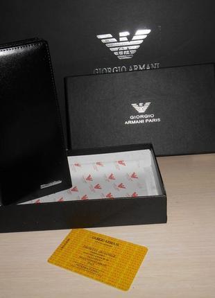 Мужской кошелек, портмоне, бумажник armani, кожа, италия 69-004