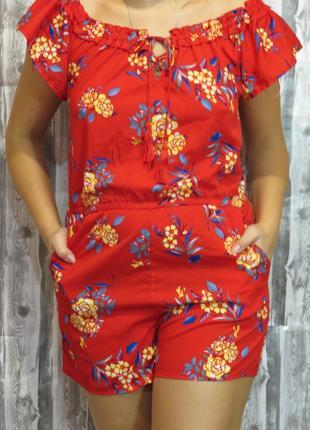 Супер комбинезон с щортами ромпер 45-48 размер большой выбор модной одежды