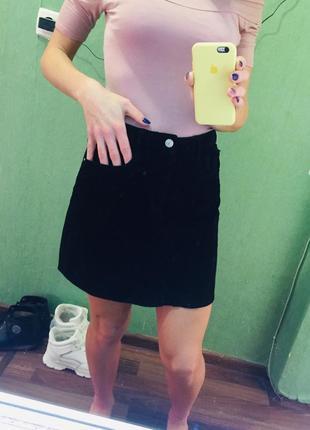Вельветовая юбка с высокой талией denim co