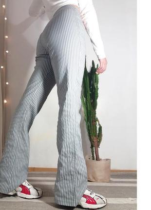 Брюки штаны джинсы высокая завышенная посадка клеш клёш макси полоска голубые