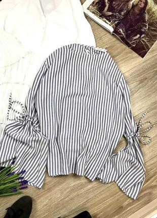 Стильна,красива рубашка в полоску з нереальними рукавами від pull&bear 😍