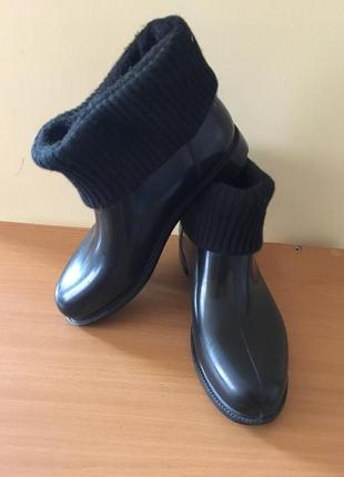 Резиновые ботиночки на шерстяной подкладке burberry