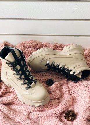 Lux обувь! крутые натуральные высокие ботинки на шнуровке зимние и деми