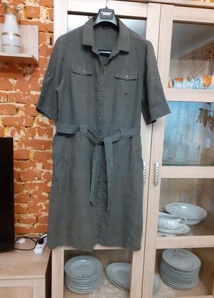 Бомбезное льняное платье рубашка с карманами большого размера