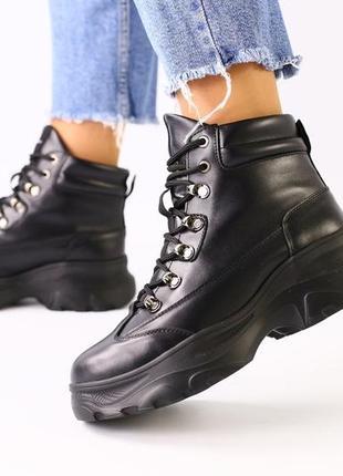 Lux обувь! шикарного качества натуральные зимние деми высокие ботинки на шнуровке
