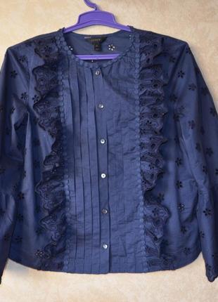 Новая брендовая  рубашка синяя прошва 100% коттон  zara
