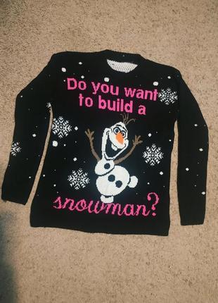 Свитер новогодний кофта свитшот рождественский зимний праздничный снеговик