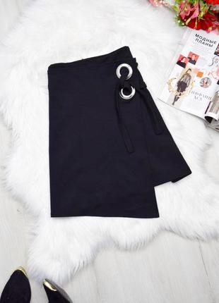 Черная юбка с люверсами на запах ассиметричная базовая