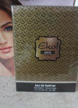 Мужская парфюмированная вода ekol gold unice, 100 мл