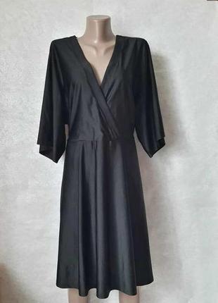 Фирменное glamorous чёрное платье миди с пояском и ткань с переливами, размер 3хл