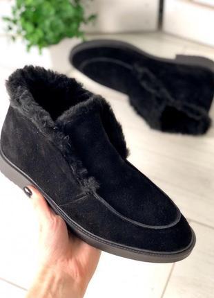 Lux обувь! шикарного качества натуральные зимние лоферы на меху