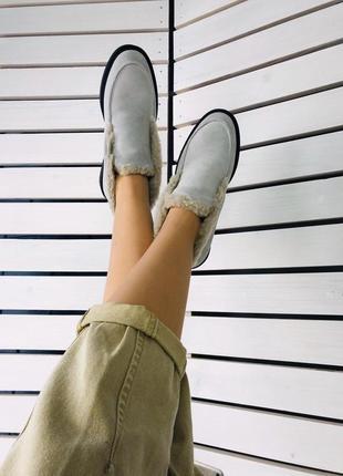 Lux обувь! шикарного качества зимние лоферы на меху
